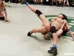 Two gorgeous babe teams are having a racy hot and wild wrestling match