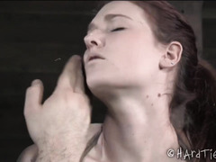 Vigorous flogging and rough caning punishment for stunning brunette babe
