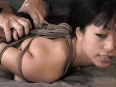 Rough deepthroating and doggystyle fucking for bounded Asian babe with big tits