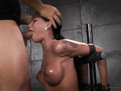 Busty beauty's sexy pussy is awesomely puffy from receiving rough punishment