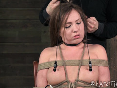 Wet and desperate brunette experiences pain and pleasure from tough master