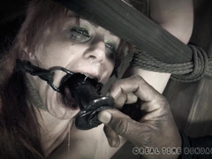 Lovely pet slave endures deep dildo gagging before getting to achieve her orgasms