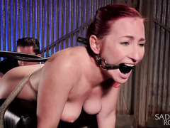 Watching stunning redhead beauty suffering from his punishment pleases master