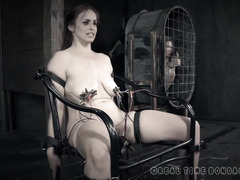 Big tits slave beauty receives painful shocks for her pussy during a Q&A session
