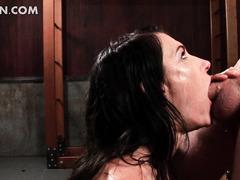 Kinky mistress gives BJ and bites hard cock