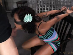 Demure ebony sweetheart is treated like a whore by her demanding daddy