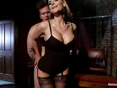 Big tits mistress only wants totally submission from her handsome tattooed slave