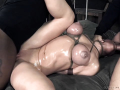 Busty blonde suffers from relentless deepthroating and rough anal pounding
