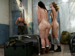Big tits sergeant is punishing her two cadets for having wild anal sex