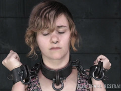 Helpless brunette is crying profusely during master's tormenting punishment