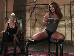 Stunning blonde mistress is punishing hot brunette for being such a lusty slut