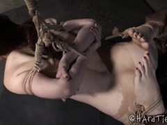Relentless deepthroating and rough pussy banging for bounded redhead beauty