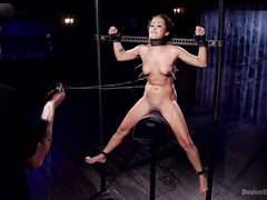 Petite babe is screaming wildly from master's excessive beating punishment