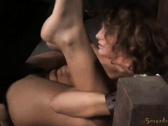Hot brunette squirted non-stop from black master's zealous and rough drilling