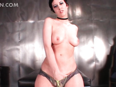 Brunette mistress strips and eats massive cock