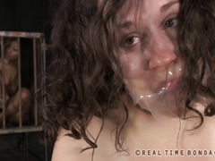 Lovely brunette is crying from her painful and electrifying tits torture