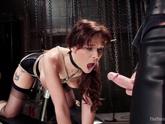 Busty mature redhead endures rough and kinky training to be a better slave
