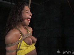 Tied up brunette experiences rough and painful domination from tough black master