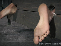 Crying ebony sweetheart is struggling from the pain that master inflicted on her