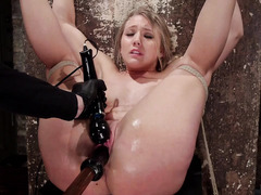 Lovely blonde suffers from master's excessive and rough pussy fingering