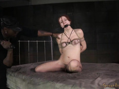 Stunning redhead slave is fucked roughly until she feels want to pass out