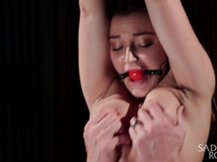Exquisite breathplay and rough beating for beautiful submissive brunette
