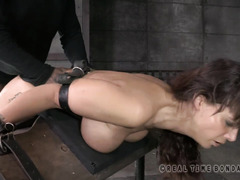 The sound of busty brunette gagging for air during deepthroating thrill her members