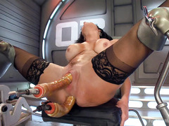 The fucking machines made big boobs dark-haired beauty squirted profusely