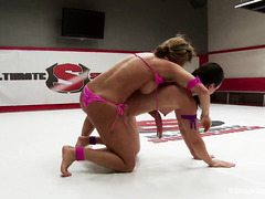 Rough and arousing wrestling practice between three captivating beauties