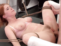 Art class turns into a public humiliation session for horny redhead beauty