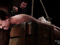 The sound of hot brunette screaaming loudly in pain gives master great pleasure