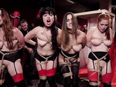 Four slave sluts are brought in to serve the house during a wild birthday bash