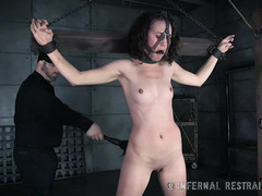 Bespectacled brunette is punished by master for not doing her editing job properly