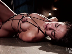 Screaming brunette experiences multiple pain and pleasure during bondage