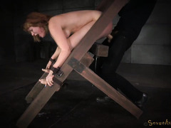 Bounded brunette slave receives intense deepthroating and rough doggystyle sex