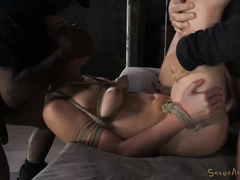Tormenting dark-haired beauty with carnal deepthroating and rough fucking