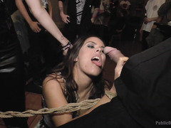 Sultry brunette experiences public disgrace before surrendering her juicy poon tang