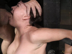 Busty brunette could not escape from master's deep and relentless deepthroating