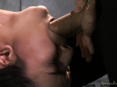 Tormenting brunette with rough deepthroating and tenacious pussy drilling
