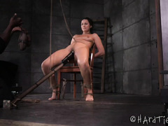 Pretty brunette gets her sexy shaved cunt pushed to the max by black master