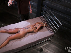 Gagged and bounded ebony screams like a slut from master's raucous punishment