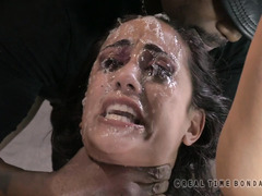 Captivating brunette is foaming from her members' wicked and merciless deepthroating