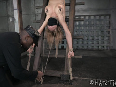 Mature tattooed blonde is crying and shaking from excessive punishment
