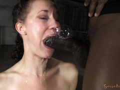 Brunette is breathless and drooling excessively from receiving rough face fucked