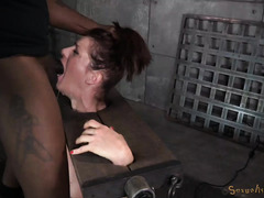 Brunette suffers from multiple delights while giving deepthroating and riding on a sybian