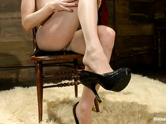 Skinny blonde mistress offers her soaked up nylon pantyhose for stud's lusty needs