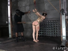 Rough and excruciatingly painful bondage therapy for skinny sweetheart