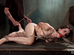 Master had a good time flogging and tormenting babe until she begs to cum