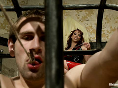 Blindfolded and bounded stud inside a cage is just mistress pathetic puppet
