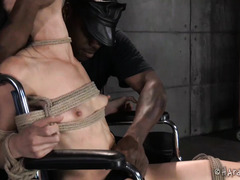 Bondage therapy for skinny dark-haired beauty until she could no longer take it